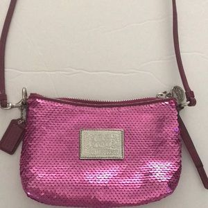 COACH POPPY HOT PINK SEQUINED BAG SMALL